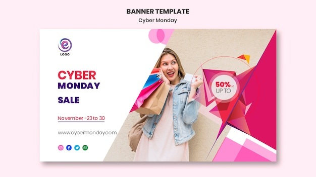 Реалистичные кибер понедельник баннер шаблон