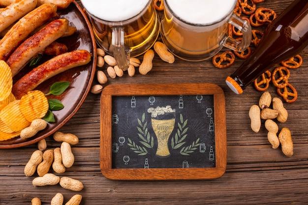 ビールのソーセージと塩味のスナック