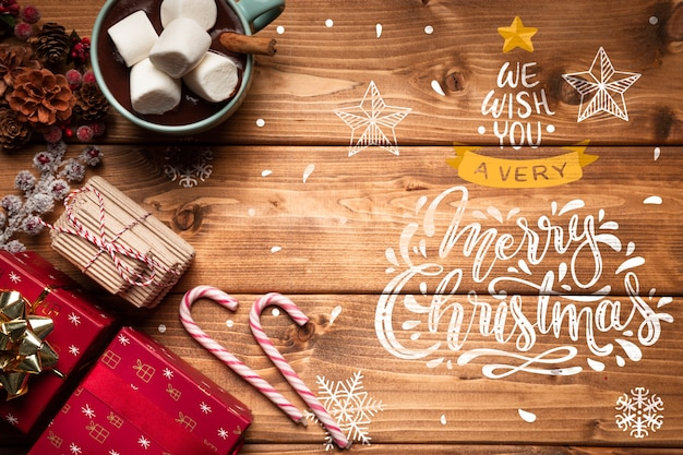 クリスマスの飾りとコピースペースとお菓子