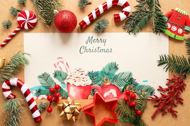 Рождество крупным планом с макетом