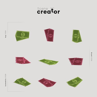 シーンクリエーターのイラスト用にさまざまな角度でお金を稼ぐ