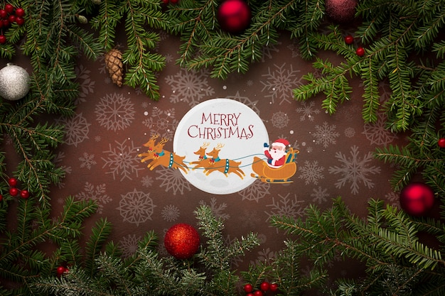 サンタとクリスマスの松の葉とメリークリスマス
