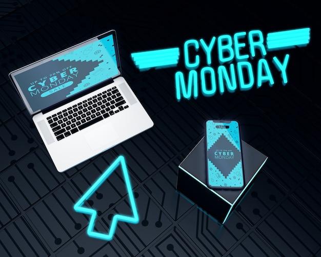 ノートパソコンと携帯電話のサイバー月曜日の販売