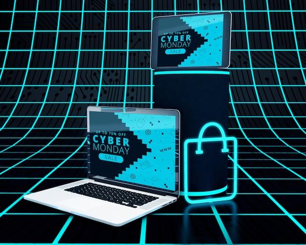 ハイテクノートパソコンとネオンショッピングバッグ