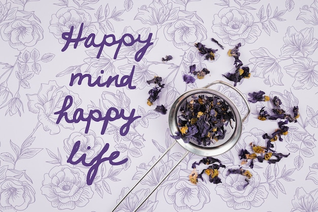 幸せな心幸せな人生引用モックアップ