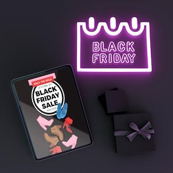 Черная пятница продаж фон с макетом планшета
