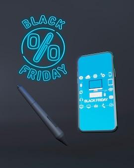 青いネオンの光と黒い金曜日電話モックアップ
