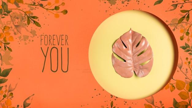 モックアップを描いた装飾的な葉