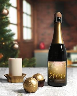 新年の夜に準備されたシャンパンボトル