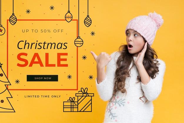 Макет рождественского рекламного скидки