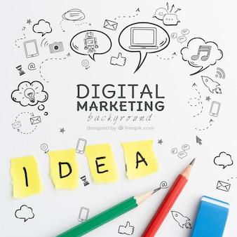 デジタルマーケティングの概念のアイデアと鉛筆
