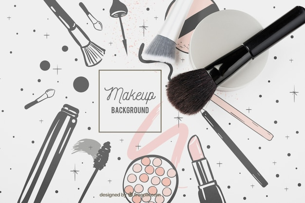 化粧ブラシモックアップのフラットレイアウト