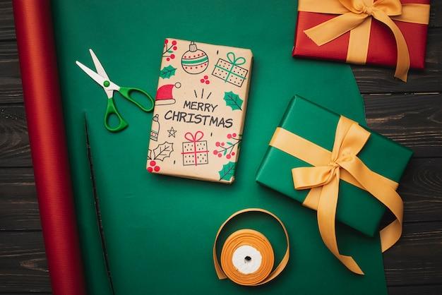 クリスマスコンセプトモックアップのフラットレイアウト