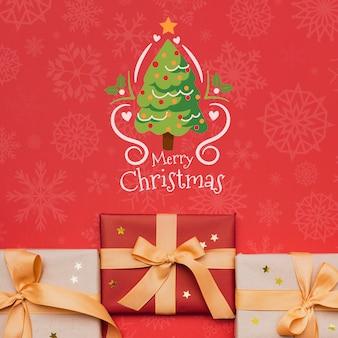 Красивый рождественский подарок концепт макет