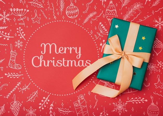Вид сверху рождественский подарок макет