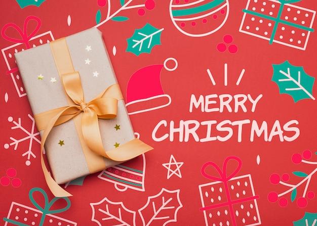 Плоский макет рождественского подарка