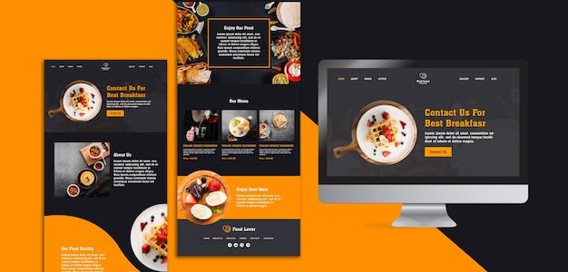 Современный шаблон веб-страницы для ресторана для завтрака