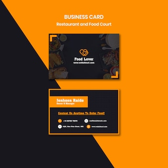 Современный шаблон визитной карточки для завтрака ресторана