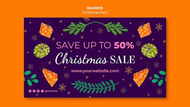Рождественская распродажа баннер со специальными предложениями