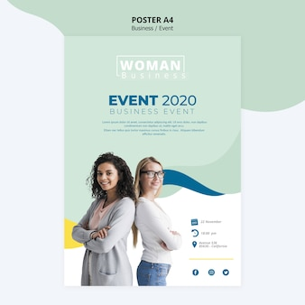 ビジネスの女性のデザインのポスターテンプレート