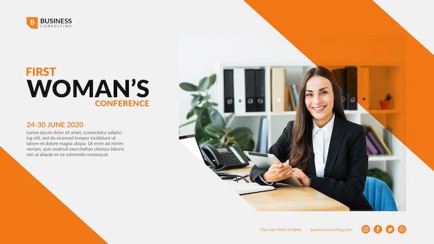 ビジネスの女性のためのカラフルなテンプレート
