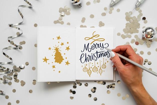 メリークリスマスメッセージ付きのクリスマスカード