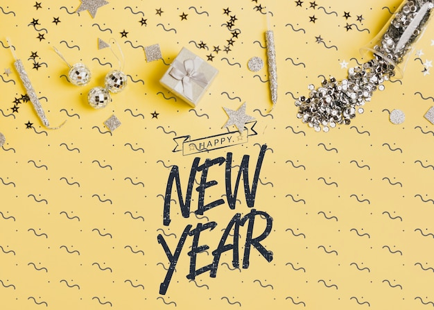 お祝いデコレーションと新年レタリング
