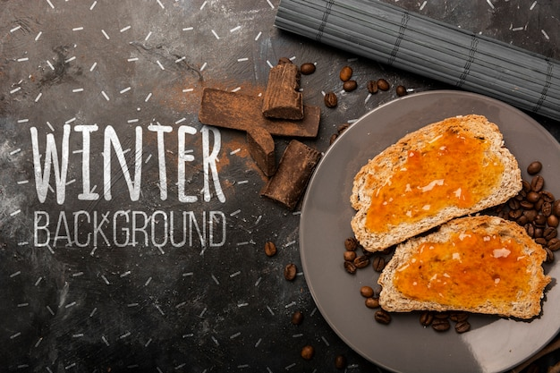 モックアップの冬の朝食のセットアップ