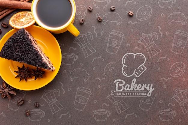 ケーキコーヒーとモックアップと乾燥オレンジ