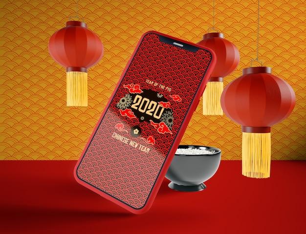 Макет телефона на китайский новый год
