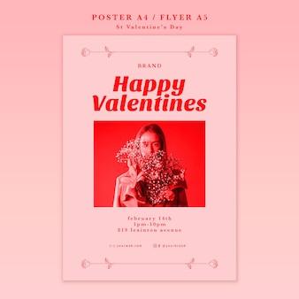 Женщина с цветами с днем святого валентина плакат