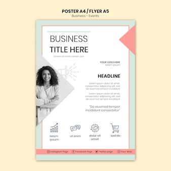 ビジネス女性チラシテンプレート