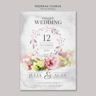 花の最小限の結婚式ポスターテンプレート