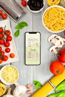 Вид сверху макет телефона итальянское меню