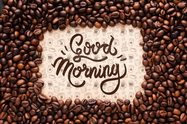 コーヒー豆のフレームとおはよう背景