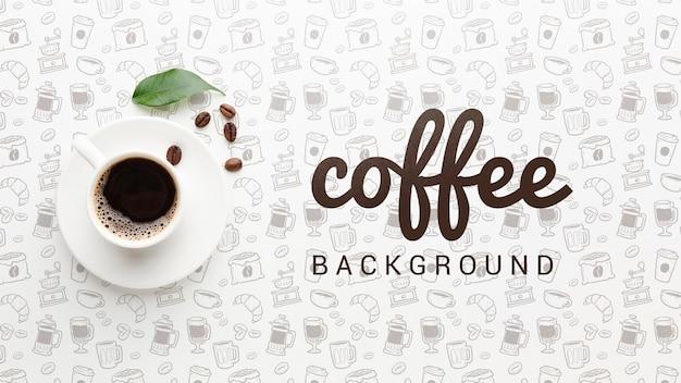 コーヒーカップとエレガントな背景