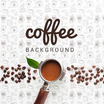 コーヒーを飲みながらシンプルな背景