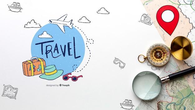 世界中を探索する旅行者ルート