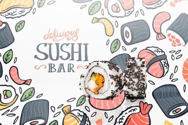 寿司バーモックアップの芸術的な引き分け
