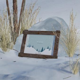 冬の写真のモックアップフレーム