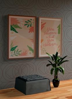 壁に絵画フレームモックアップ
