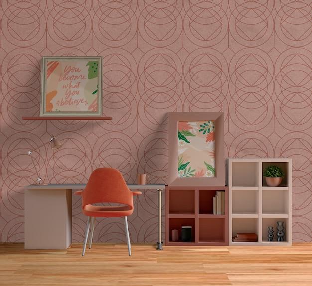 美しい部屋で装飾的なフレームのモックアップ
