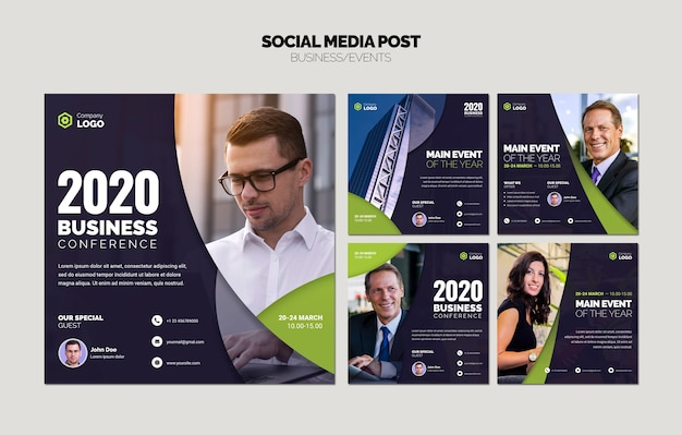 ビジネステンプレートのソーシャルメディアコラージュ