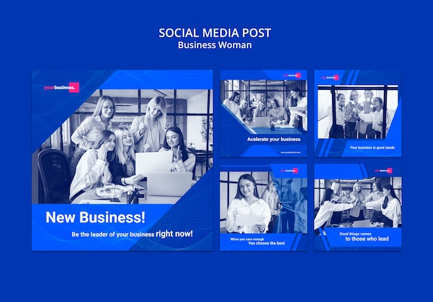 ビジネスの女性とソーシャルメディア投稿テンプレート