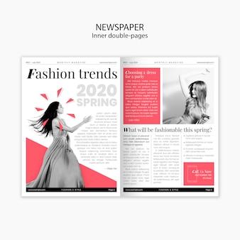 春のファッショントレンド内の二重ページ新聞