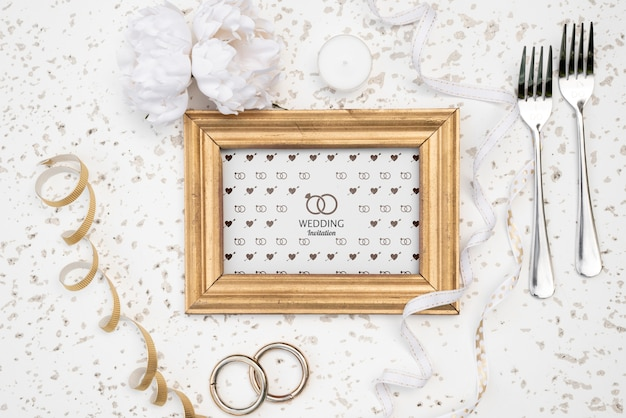 フォークでかわいい結婚式招待状フレーム