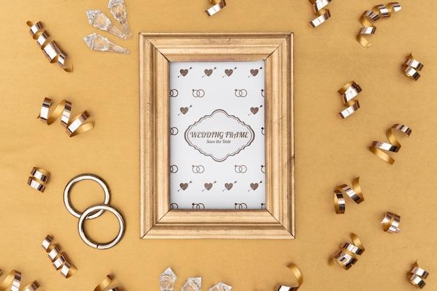 Симпатичная свадебная пригласительная рамка с макетом