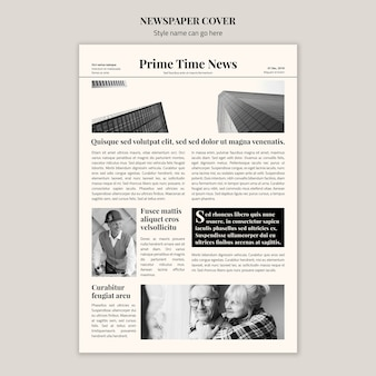 黒と白の新聞カバー