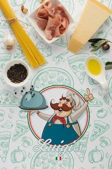 イタリア料理のモックアップの材料