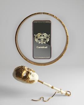 Мобильный телефон карнавал приложение макет и маска